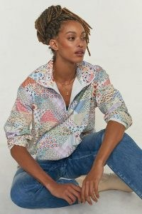 Carleen Patchwork Quarter-Zip Jumper / cottagecore inspired fashion / womens floral pullover tops