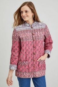 Dilli Grey Komal Jacket / quilted organic cotton floral and paisley print jackets