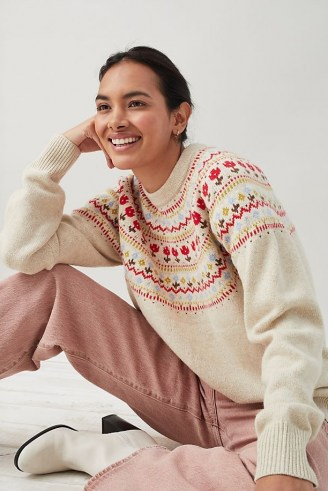 Levi's Fair Isle Jumper in Cream | womens patterned crew neck jumpers - flipped