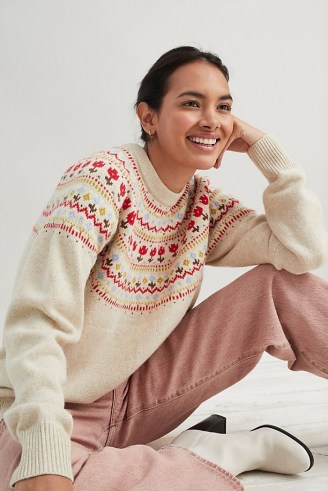 Levi's Fair Isle Jumper in Cream | womens patterned crew neck jumpers