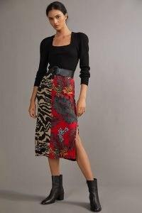 Aldomartins Contrast Knitted Midi Skirt Red Motif | spliced mixed print side split skirts