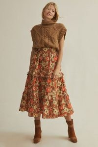 Stella Pardo Tiered Maxi Skirt Orange Motif – frill trimmed floral skirts – ruffled tiers – vintage style prints – retro print fashion