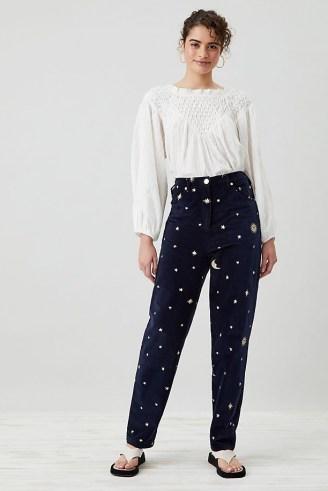 Meadows Cassia Velvet Jeans Navy – womens dark blue celestial print trousers - flipped