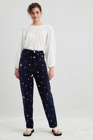 Meadows Cassia Velvet Jeans Navy – womens dark blue celestial print trousers