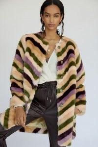 Hutch Chevron Faux-Fur Car Coat – vintage style winter coats – womens fluffy retro outerwear