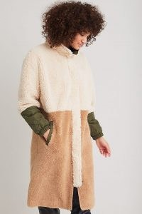 Ruby + Ed Sherpa Liner Coat – textured color block winter coats – womens faux fur outerwear