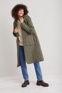 Selected Femme Nora Quilted Coat in Khaki ~ womens green hooded longline winter coats ~ women's fashionable outerwear