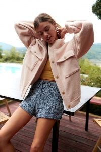 Daily Practice by Anthropologie Fleece Bomber Jacket in Neutral ~ womens casual textured jackets