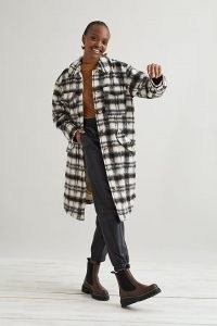 Selected Femme Caron Wool Shirt Jacket in Black and White ~ women's long length checked shackets ~ women's longline overshirts ~ on trend casual jackets