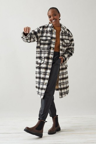 Selected Femme Caron Wool Shirt Jacket in Black and White ~ women's long length checked shackets ~ women's longline overshirts ~ on trend casual jackets - flipped
