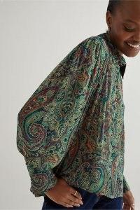 Kachel Paisley-Print Blouse in Moss ~ green printed collared blouses ~ womens voluminous blouson style shirts