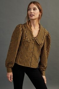Damson Madder Penny-Collar Blouse Yellow – checked blouses – oversized collars