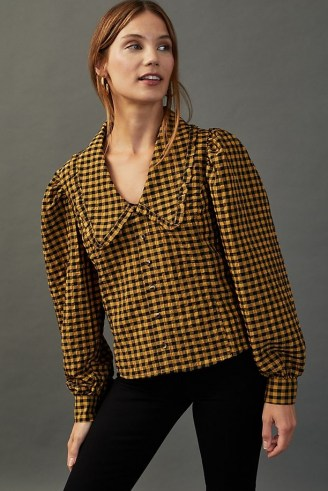 Damson Madder Penny-Collar Blouse Yellow – checked blouses – oversized collars - flipped