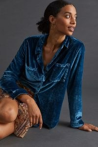 Pilcro Classic Velvet Buttondown Shirt Dark Blue – womens soft feel shirts