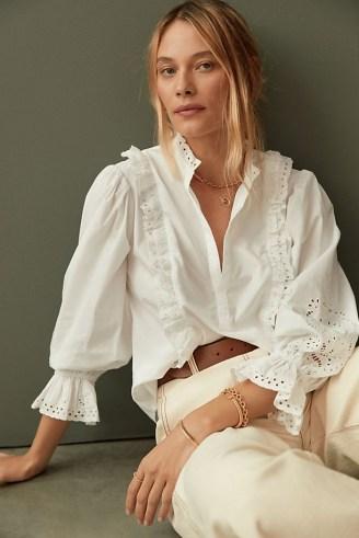 Maeve Ruffled Eyelet Blouse White – romantic frill trimmed blouses - flipped