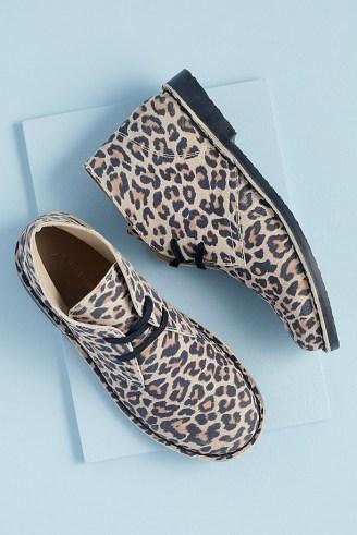 Anthropologie Leopard-Print Suede Desert Boots – womens animal print footwear - flipped