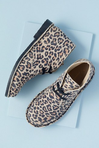 Anthropologie Leopard-Print Suede Desert Boots – womens animal print footwear