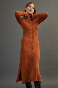 Damson Madder Edie Knitted Maxi Dress Dark Orange | knitted shirt style dresses | fashionable autumn knitwear