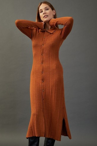 Damson Madder Edie Knitted Maxi Dress Dark Orange   knitted shirt style dresses   fashionable autumn knitwear - flipped