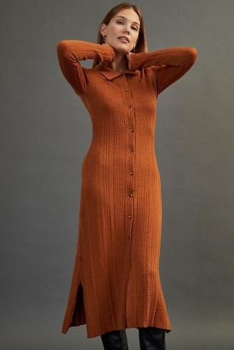 Damson Madder Edie Knitted Maxi Dress Dark Orange   knitted shirt style dresses   fashionable autumn knitwear