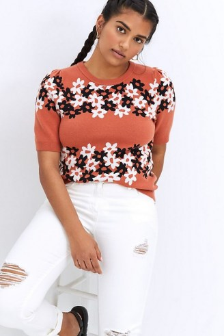 Maeve Jacquard Knit Tee | floral knitted tops - flipped