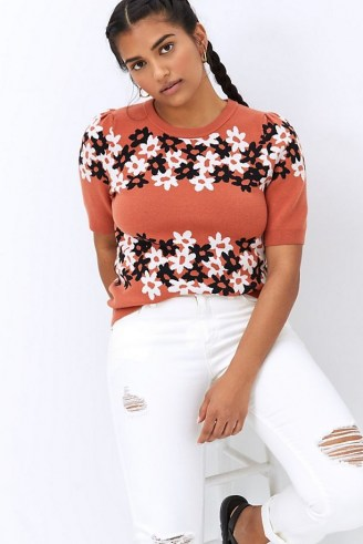 Maeve Jacquard Knit Tee | floral knitted tops