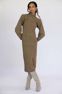 Current Air Cable-Knit Jumper Dress Set in Cedar | neutral brown knitted fashion sets | dresses and cropped jumpers | autumn and winter clothing co ords