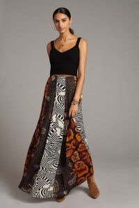 Farm Rio Abstract Contrast Maxi Skirt – long length mixed print skirts