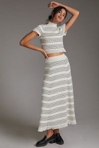 Maeve Knit Skirt Set Ivory – chic fashion sets – stylish skirts and tops clothing co ords
