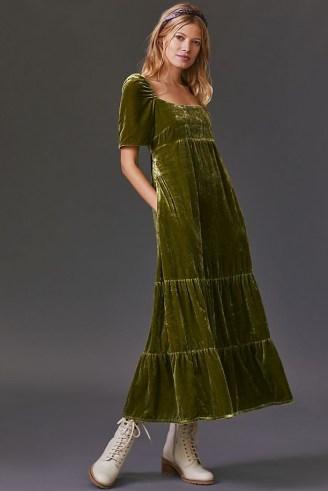 Anthropologie Velvet Empire Waist Midi Dress Green – luxe style short sleeve soft feel dresses - flipped