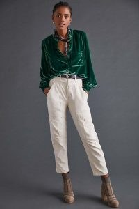 Pilcro Classic Velvet Buttondown Shirt in Green – womens luxe style casual soft feel shirts