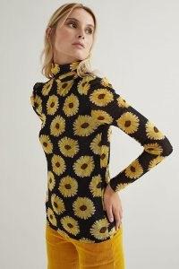 Fabienne Chapot Jane Puffed-Sleeve Top Black Motif / floral long sleeve high neck tops
