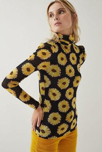 Fabienne Chapot Jane Puffed-Sleeve Top Black Motif / floral long sleeve high neck tops - flipped
