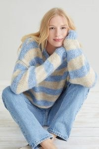 Lolly's Laundry Terry Jumper | soft knitted blue striped jumpers | womens sloucht knitwear