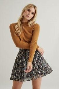 Fabienne Chapot Swoosie Skirt Black – floaty flared mini skirts – metallic details