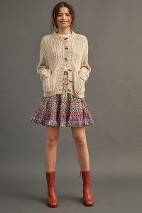 Anthropologie Abstract-Print Mini Skirt Orange Motif – floral tiered mini skirts