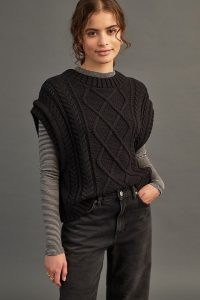 Selected Femme Piper Knitted Vest Black – cable knit sweater vests – womens textured tanks – women's fashionable knitwear