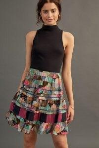Anthropologie Patchworked Mini Skirt Purple Motif – breezy multi print mini skirts