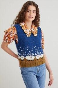 Resume Gerdars Vest Navy – cute sheep motif sweater vests – women's blue knitted tank tops