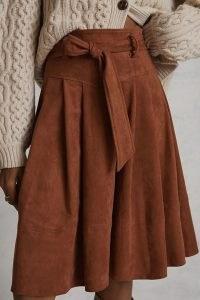 Anthropologie Sueded Midi Skirt Brown – tie waist wavy hem skirts