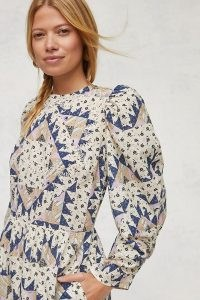 Othilia Patchwork Maxi Dress – cotton puff sleeve mixed print dresses