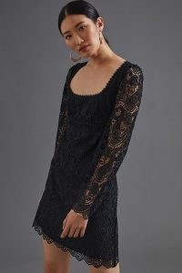 Maeve Embroidered Lace Mini Dress – LBD – semi sheer sleeve little black dresses