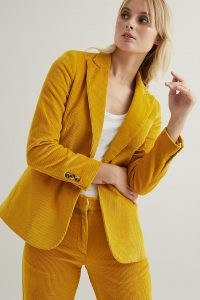 Fabienne Chapot Elodie Blazer in Maize – womens yellow cord blazers – women's single breasted corduroy jackets