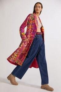 Roopa Pemmaraju Abstract Duster Jacket Purple Motif – painterly splodge print longline jacket – womens vivid multicoloured coats