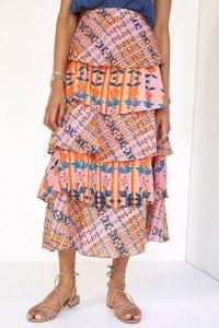 Roopa Pemmaraju Tiered Maxi Skirt Orange Motif – mixed print layered skirts – tiered fashion