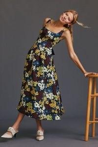 Maeve Marigold Maxi Dress / sleeveless square neck fit and flare dresses