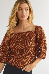 Eva Franco Shine Lace Blouse in Brown ~ semi sheer square neck puff sleeve blouses