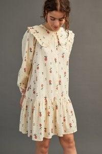 Stella Nova Sassi May Mini Dress in Cream ~ fruit print oversized collar dresses ~ cherry prints ~ tiered hem