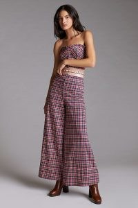 Eva Franco Plaid Jumpsuit in Pink – strapless checked wide leg jumpsuits – fitted bodice