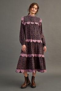 Stella Nova Loan Midi Dress in Navy – dark blue printed Western prairie style dresses – cotton vintage style fashion